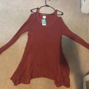 Burnt Orange, off the shoulder dress